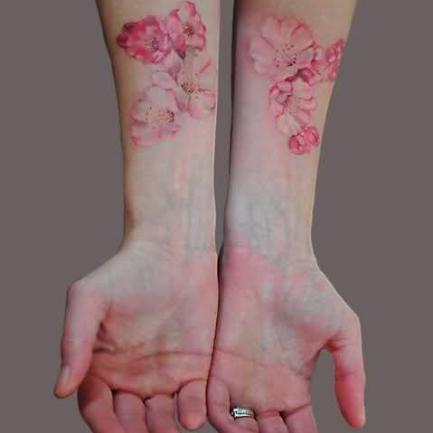 Realistic Cherry Blossom Tattoo