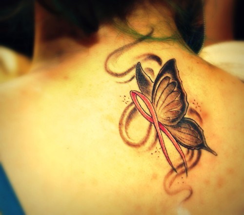 Cancer ribbon butterfly tattoo for Breast cancer butterfly tattoos