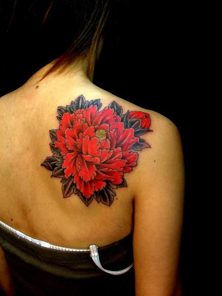 back shoulder red carnation flower tattoo