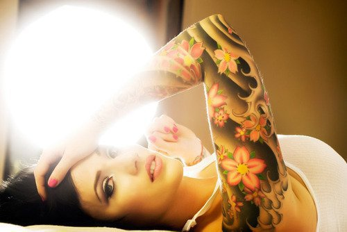 Girls sleeve japanese flower tattoo for Japanese wave and flower tattoo
