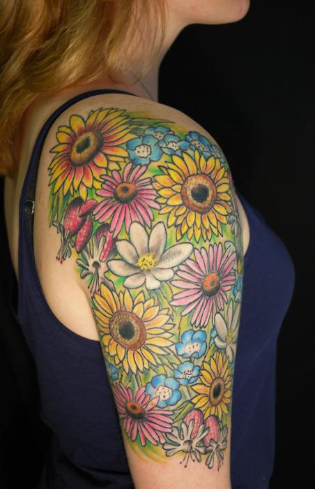 Bright colorful sunflower daisy half sleeve tattoo for Daisy of love tattoo sleeve
