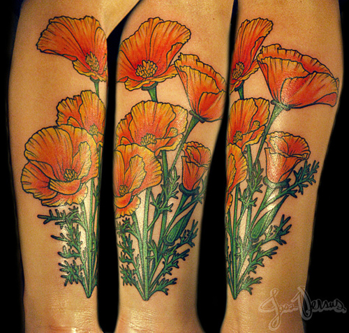 bright orange california poppy flower leg tattoo. Black Bedroom Furniture Sets. Home Design Ideas