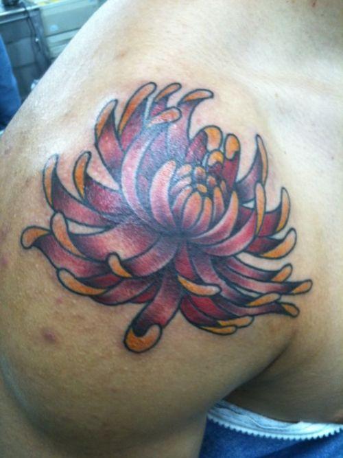 Daisy Tattoos For Men: Mens Shoulder Daisy Blooming Flower Tattoo