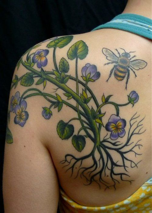 Shoulder vine bee flower tattoo for Bee and flower tattoo