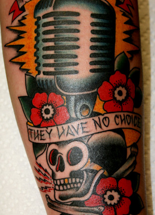 Skull and microphone tattoo w/ flowers & banner