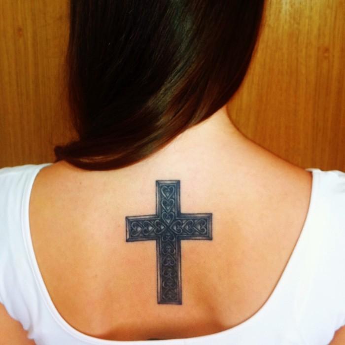 Large detailed celtic cross tattoo on girl 39 s upper back for Big cross tattoos