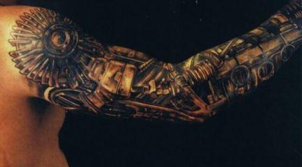 Black bio-mechanical full sleeve tattoo