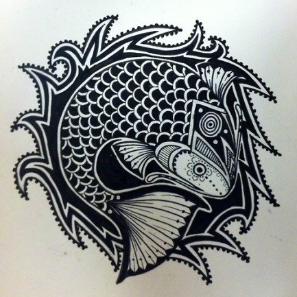Cool tribal fish tattoo design