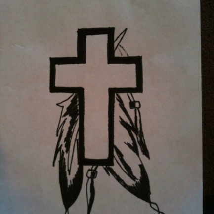 Cross and feathers tattoo design idea