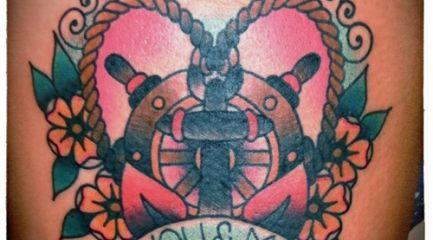 Cute girly old school anchor tattoo