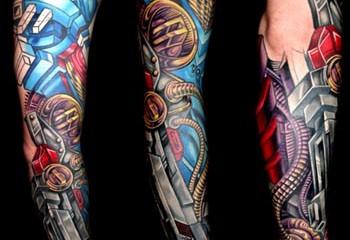 Guys bio-mechanical full sleeve tattoo