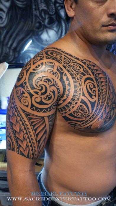 Half Sleeve Chest Tattoo