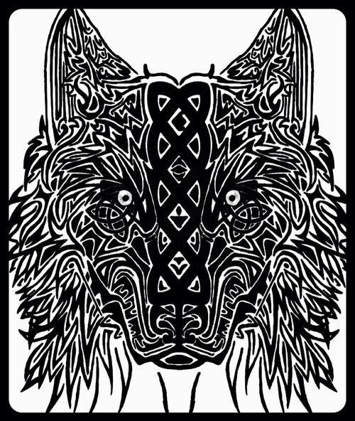 Tribal Celtic wolf tattoo design
